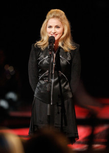 Madonna speaks during the Michael Jackson tribute the 2009 MTV Video Music Awards at Radio City Music Hall on September 13th 2009 in New York City