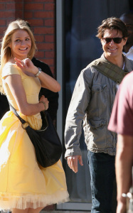 Cameron Diaz and Tom Cruise on the filming set of their latest movie Wichita in Boston Massachusetts on September 28th 2009
