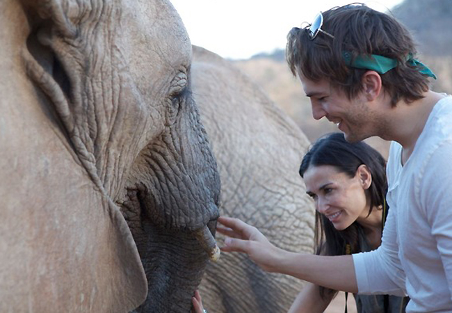 Ashton Kutcher and Demi Moore picture during their visit to Africa on September 28th 2009