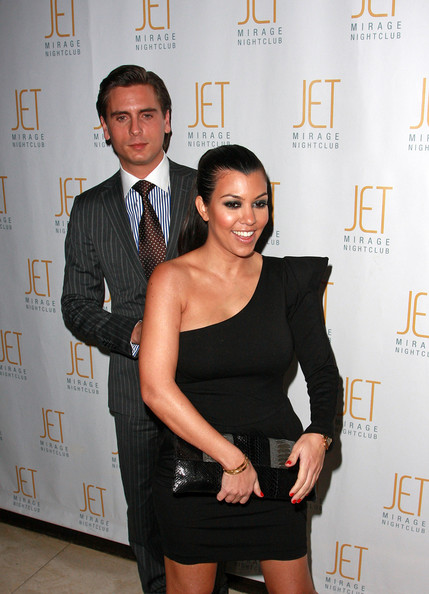 Kourtney Kardashian and Scott Disick arrive at Jet nightclub in the Mirage Resort and Casino on February 20th 2010 in Las Vegas